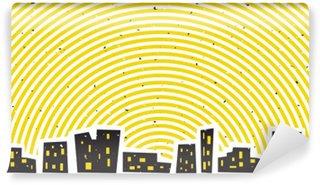 Vinylová Fototapeta Abstraktní noční panoráma města s jasně zářivé nebe