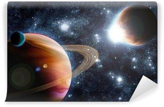 Vinylová Fototapeta Abstraktní planet s erupce Slunce v hlubokém vesmíru - hvězdy mlhoviny znovu