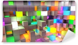 Vinylová Fototapeta Abstraktní pozadí barevné světelné kostky