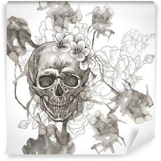 Vinylová Fototapeta Abstraktní pozadí s lebkou, křídly a květiny