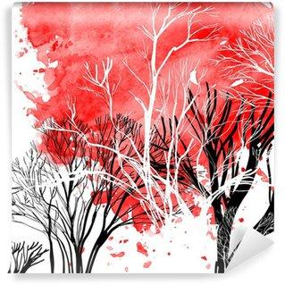 Vinylová Fototapeta Abstraktní silueta stromů