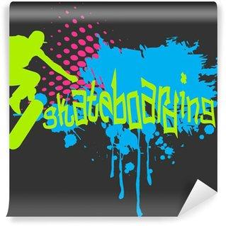 Vinylová Fototapeta Abstraktní vektorové pozadí s skateboardista silhouette