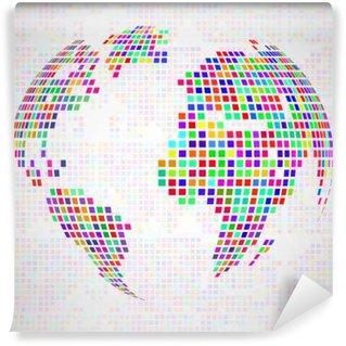 Vinylová Fototapeta Abstraktní zeměkoule zeměkouli z barevných pixelů. Vektor
