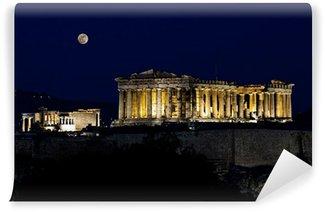 Vinylová Fototapeta Acropolis (Parthenon) v noci, za úplňku, Atény, Řecko