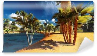 Vinylová Fototapeta Africké savany s bujnou vegetací a pulzující u bazénu