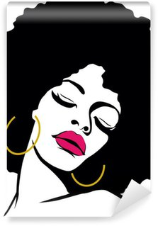 Vinylová Fototapeta Afro vlasy hippie žena pop art