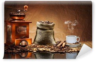 Fototapeta Winylowa Akcesoria do kawy na macie
