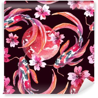 Vinylová Fototapeta Akvarel asijských koi ryby
