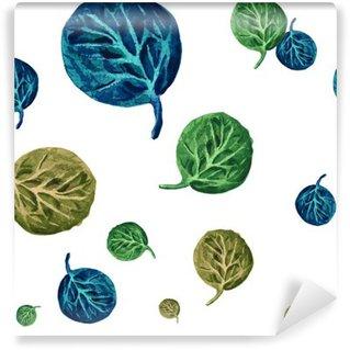 Vinylová Fototapeta Akvarel bezproblémové vzorek s podzimní listí.