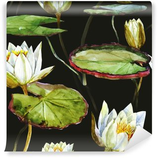 Vinylová Fototapeta Akvarel lotus vzor