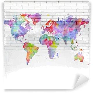 Vinylová Fototapeta Akvarel mapa světa na cihlové zdi