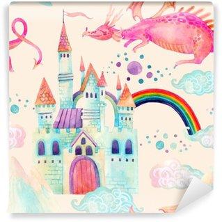 Vinylová Fototapeta Akvarel pohádka bezproblémové vzorek s roztomilý drak, magie hradu, hor a pohádkových mraků