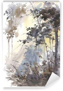 Vinylová Fototapeta Akvarel ručně malovaná abstraktní krajina, hluboké lesy, trojky na slunci.