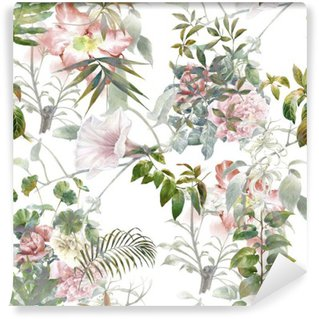 Vinylová Fototapeta Akvarel z listů a květů, bezešvé vzor na bílém pozadí