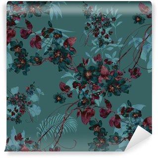 Vinylová Fototapeta Akvarel z listů a květů, bezešvé vzor