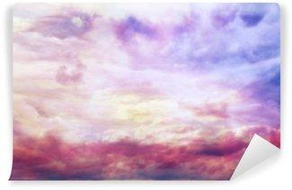 Fototapeta Winylowa Akwarela błękitny tekstury, tło różowe chmury