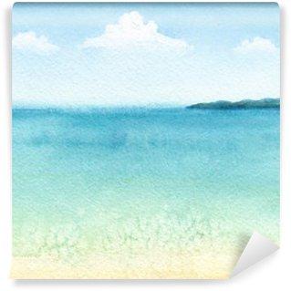 Fototapeta Vinylowa Akwarela ilustracja tropikalnej plaży