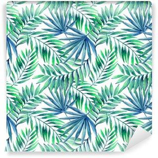 Fototapeta Vinylowa Akwarela tropikalnych liści bezszwowe wzór