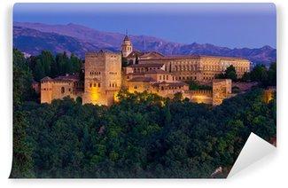 Vinylová Fototapeta Alhambra v Granadě, Nasrid Paláce panoramatický za soumraku