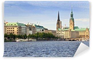 Vinylová Fototapeta Alster jezero a Centrum města Hamburk, Německo