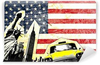 Vinylová Fototapeta Americká vlajka se sochou Yellow Taxi svobody