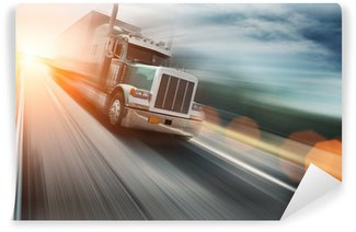 Vinylová Fototapeta Americké auto na dálnici, rozmazaný pohyb
