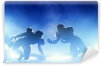 Vinylová Fototapeta Americký fotbal hráči ve hře, přistání. Stadium světla