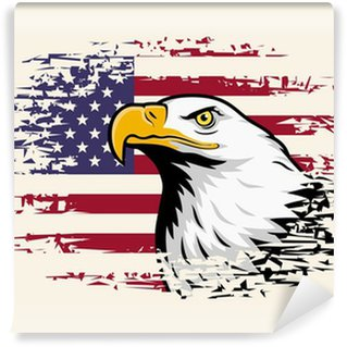 Vinylová Fototapeta Americký orel proti USA vlajka pozadí