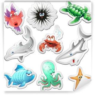 Fototapeta Winylowa Animali Mare Adesivi Sticker Ocean Sea Animals Ikony-Vector