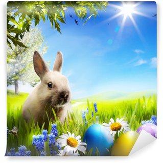 Vinylová Fototapeta Art Malý velikonoční zajíček a velikonoční vejce na zelené trávě