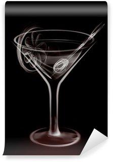 Fototapeta Winylowa Artistic Smoke Ilustracja Martini Glass Cocktail na czarno