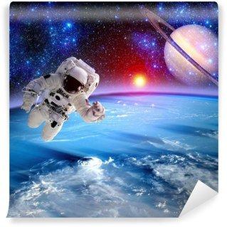 Vinylová Fototapeta Astronaut Spaceman Saturn Planet