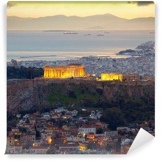 Vinylová Fototapeta Atény, Řecko. Po západu slunce. Parthenon a Herodium Stavebnictví