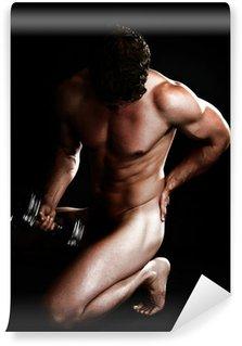 Vinylová Fototapeta Atraktivní muž s Činka rukou závaží Nude Over Black