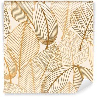 Fototapeta Winylowa Atumnal szwu z brązowymi liśćmi