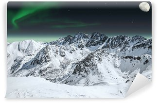 Vinylová Fototapeta Aurora a měsíc v horách