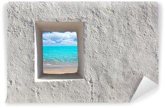 Vinylová Fototapeta Baleárské ostrovy idylické tyrkysová pláž od domu okně