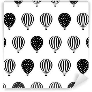 Fototapeta Winylowa Balon na ogrzane powietrze szwu. Baby shower ilustracje wektorowe na białym tle. kropki i paski. Czarno-biały wzór gorące powietrze balony.
