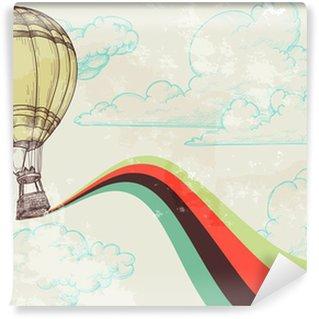 Vinylová Fototapeta Balón Retro horký vzduch pozadí oblohy