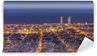 Vinylová Fototapeta Barcelona panorama panorama v noci