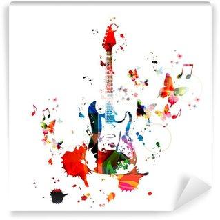 Vinylová Fototapeta Barevné hudební pozadí s kytarou