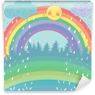 Vinylová Fototapeta Barevné pozadí s duhou, déšť, slunce v cartoon stylu