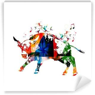 Vinylová Fototapeta Barevné vektorové býk pozadí s kolibříky