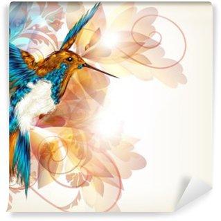Vinylová Fototapeta Barevné vektorové design s realistickým kolibřík a květinové o.
