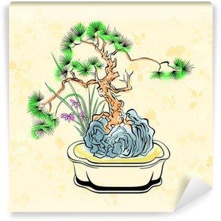 Vinylová Fototapeta Barevný inkoust stylizovaný kreslení bonsaje s duhovky květin