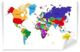 Vinylová Fototapeta Barevný politická mapa světa s názvy suverénních zemí a větších závislých územích. Různé barvy pro jednotlivé země