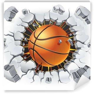 Vinylová Fototapeta Basketbal a Old poškození omítnutá zeď. Vektorové ilustrace