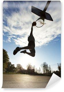 Vinylová Fototapeta Basketball Player Slam Dunk Silhouette