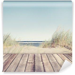 Vinylová Fototapeta Beach and Wooden Plank