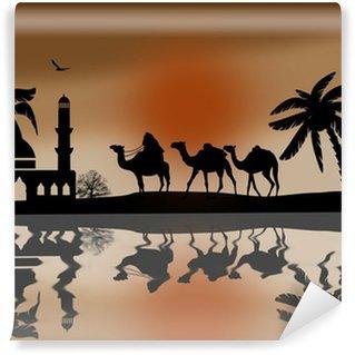 Vinylová Fototapeta Bedouin velbloudí karavana v blízkosti vody